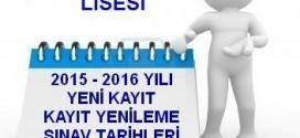 Açık Lise 2015– 2016 Eğitim Öğretim Yılı İş Takvimi