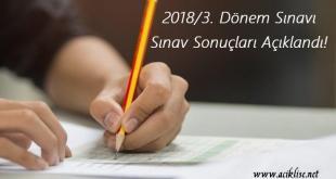 3. dönem sınav sonucu 2018